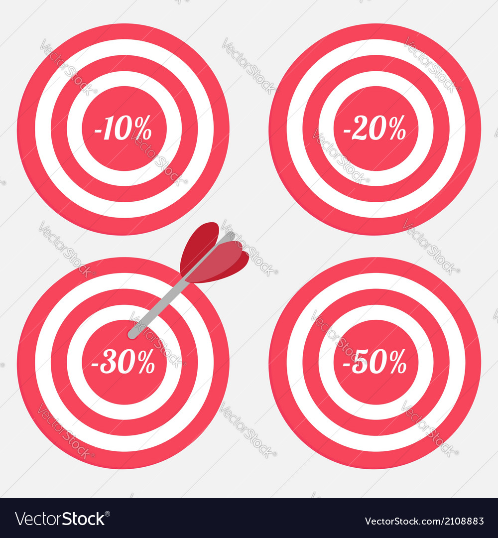 Set of targets with sale percent sign vector | Price: 1 Credit (USD $1)