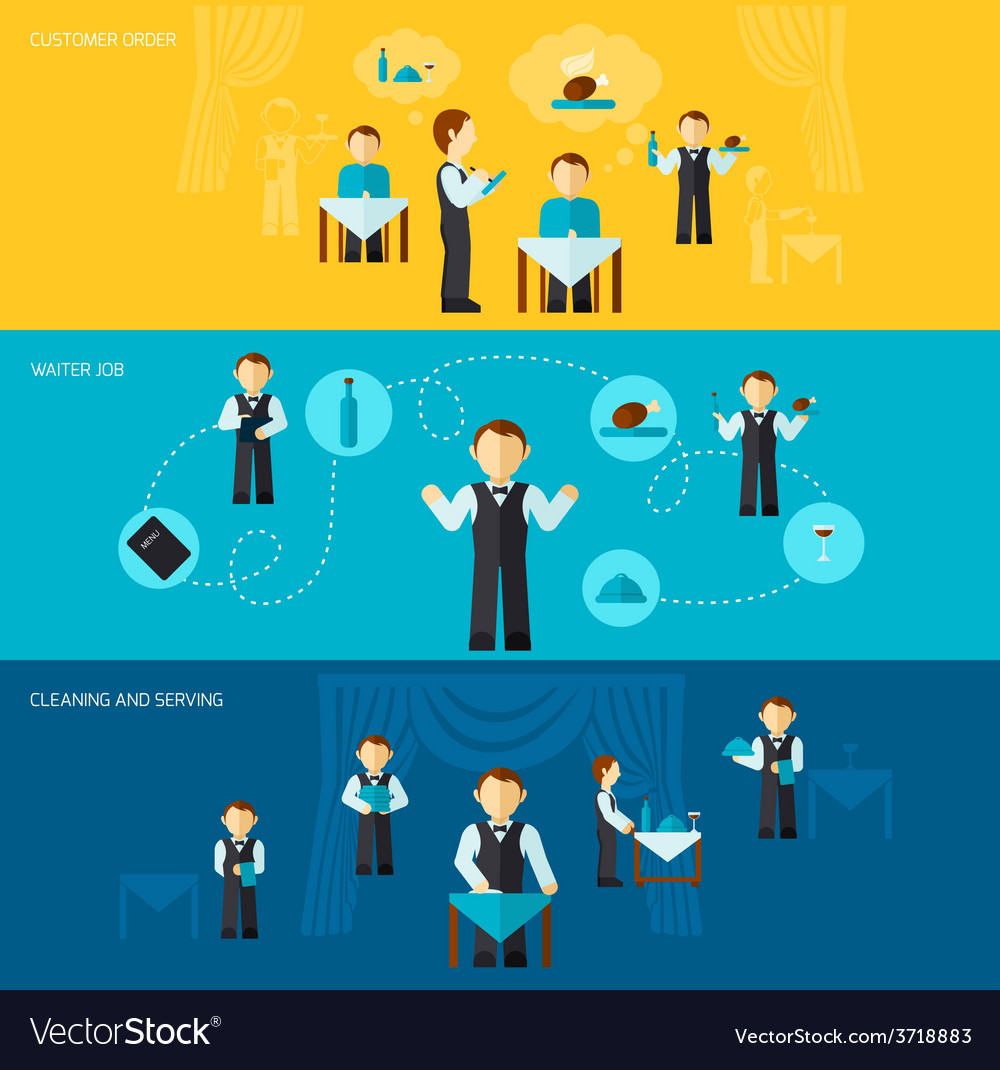 Waiter man banner flat vector | Price: 1 Credit (USD $1)
