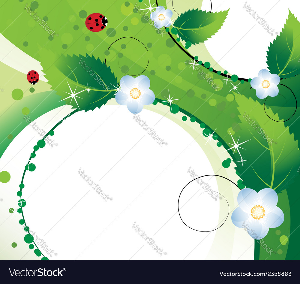Wildflowers and ladybugs vector | Price: 1 Credit (USD $1)
