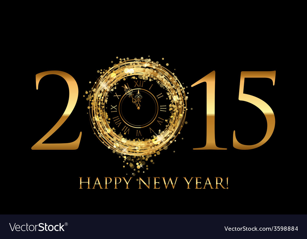 2015 happy new year background with gold shiny vector | Price: 1 Credit (USD $1)