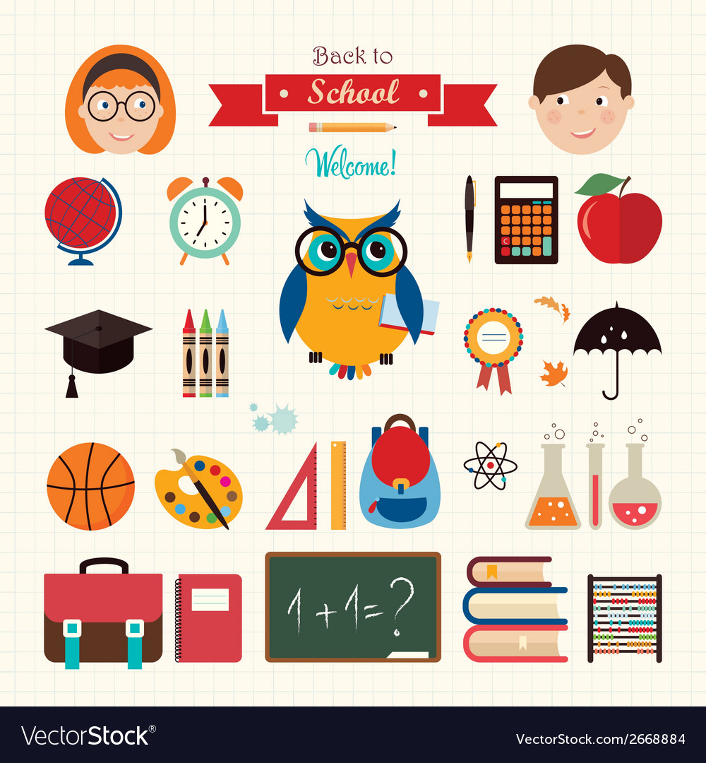 Back to school elements vector | Price: 1 Credit (USD $1)