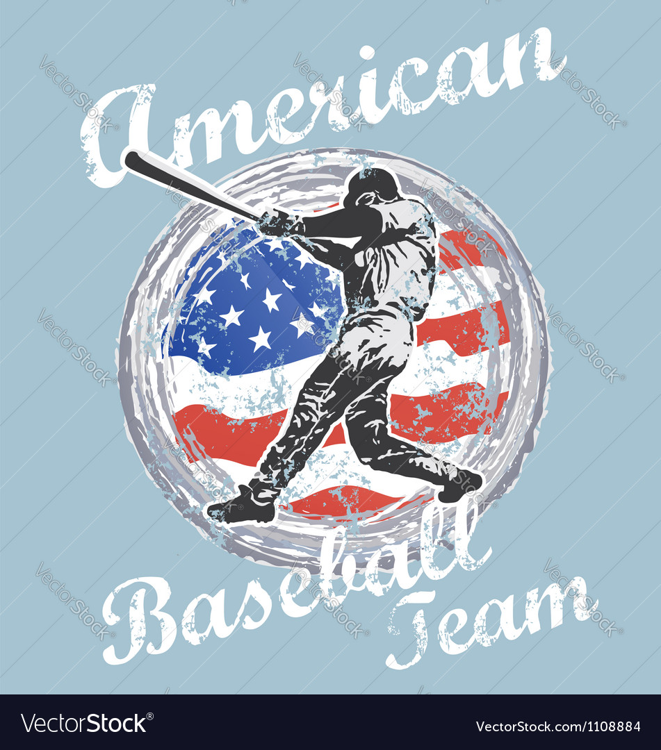 Baseball us flag vector | Price: 1 Credit (USD $1)