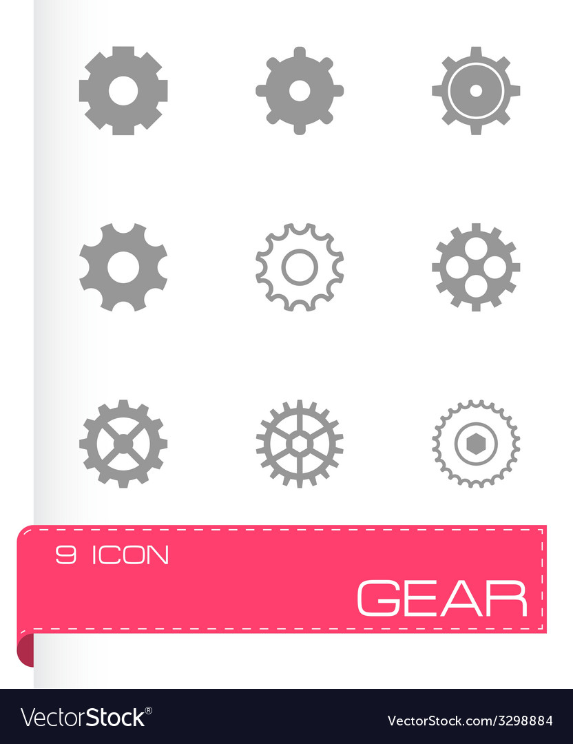 Black gear icons set vector | Price: 1 Credit (USD $1)