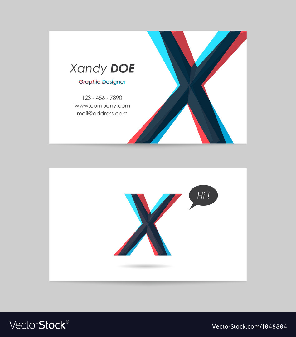 Business card template - letter x vector | Price: 1 Credit (USD $1)
