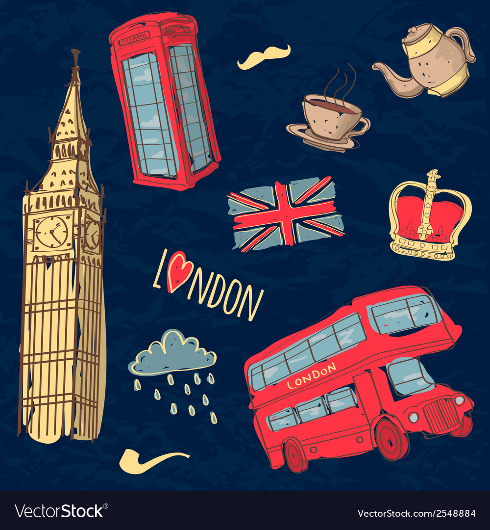 Colorful set of hand-drawn london symbols vector | Price: 1 Credit (USD $1)