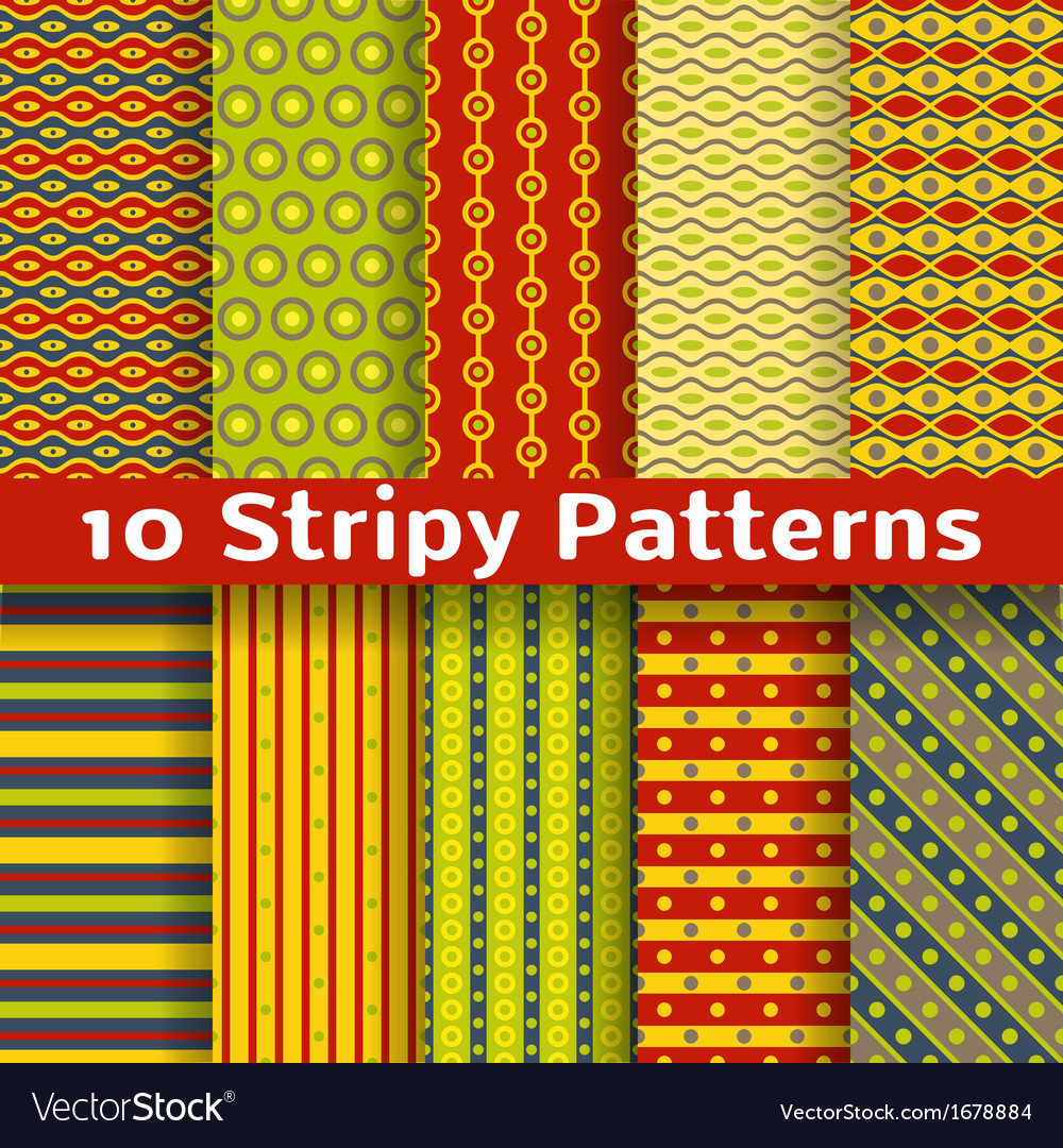 Different colorful stripy seamless patterns tiling vector | Price: 1 Credit (USD $1)