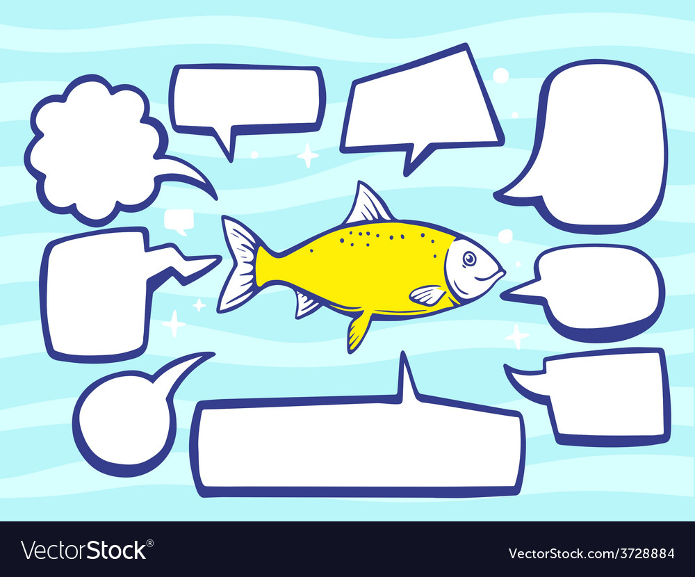 Fish with speech comics bubbles on blue p vector   Price: 1 Credit (USD $1)