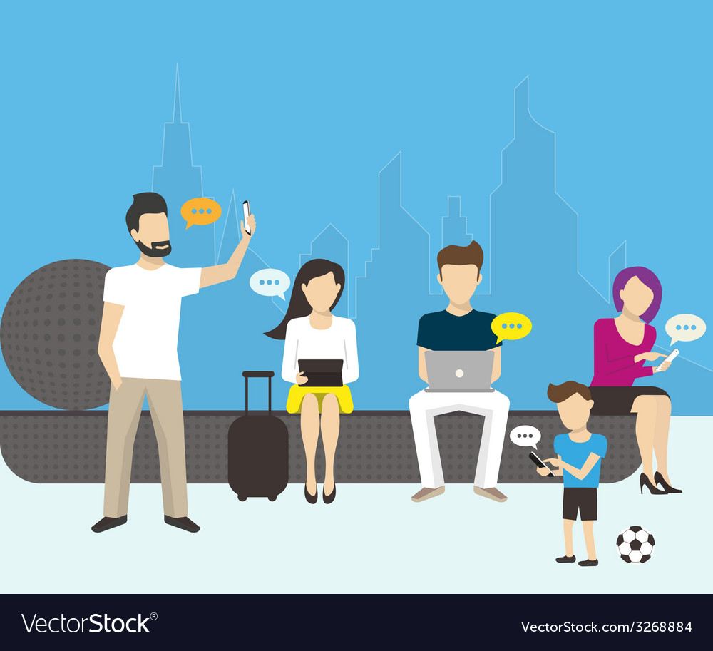 Group of people using electronics devices vector | Price: 1 Credit (USD $1)