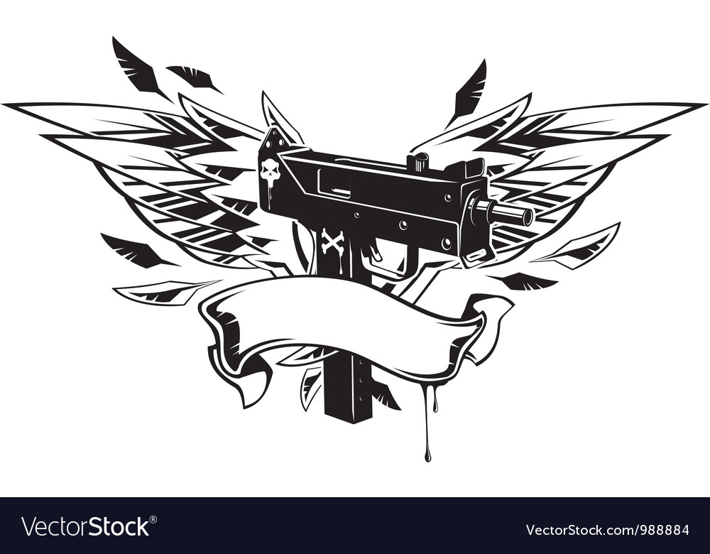 Machine gun with wings and ribbon vector | Price: 1 Credit (USD $1)