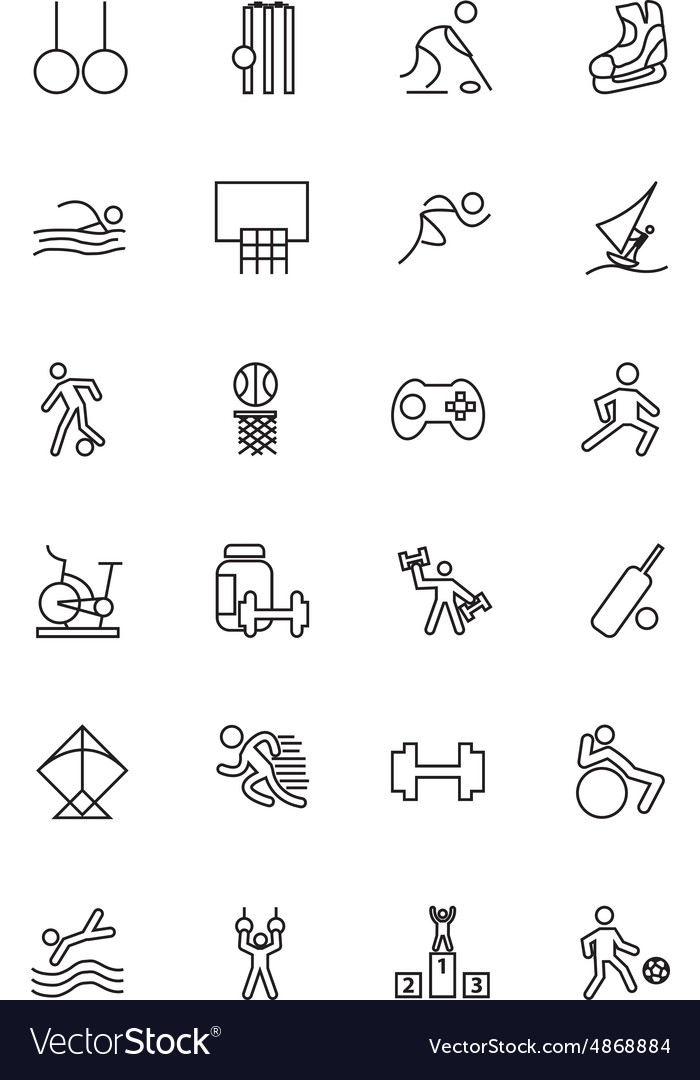 Sports line icons 4 vector