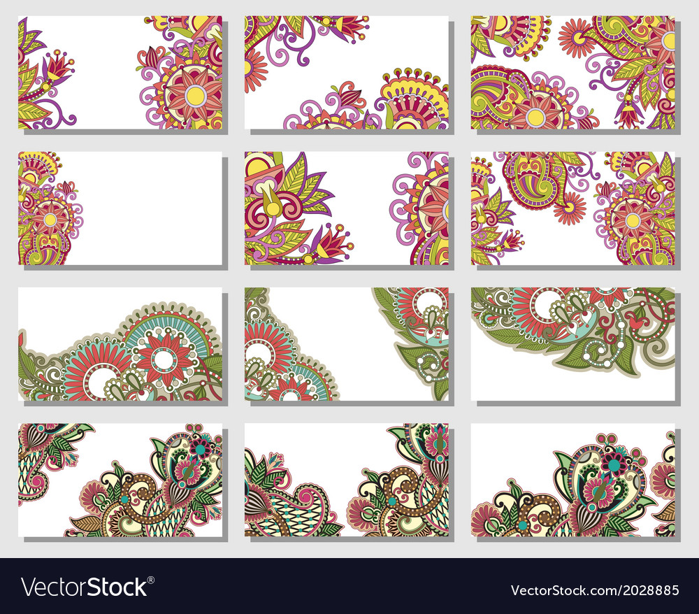 Colorful floral ornamental business card element vector | Price: 1 Credit (USD $1)