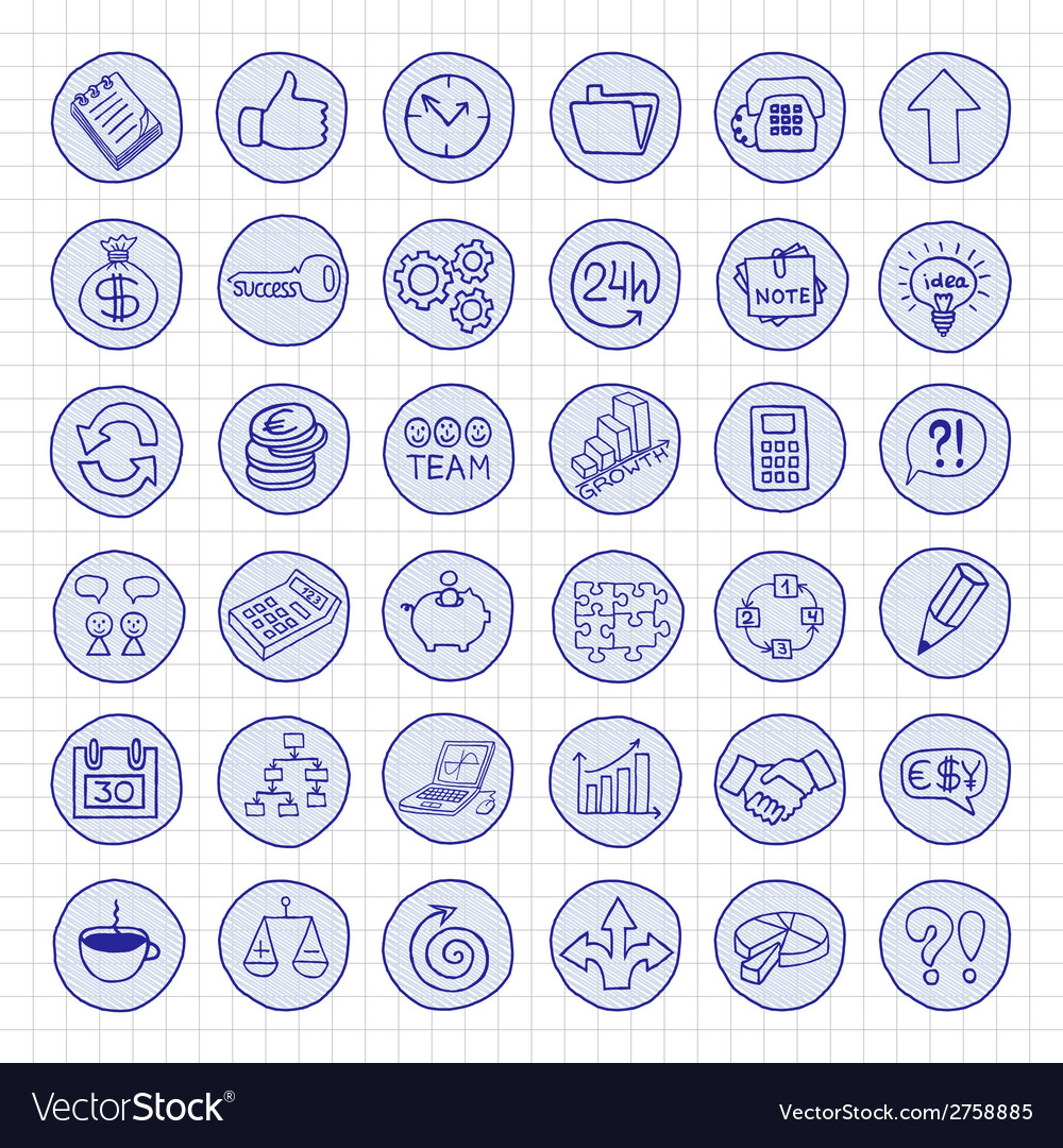 Hand drawn business buttons set vector | Price: 1 Credit (USD $1)