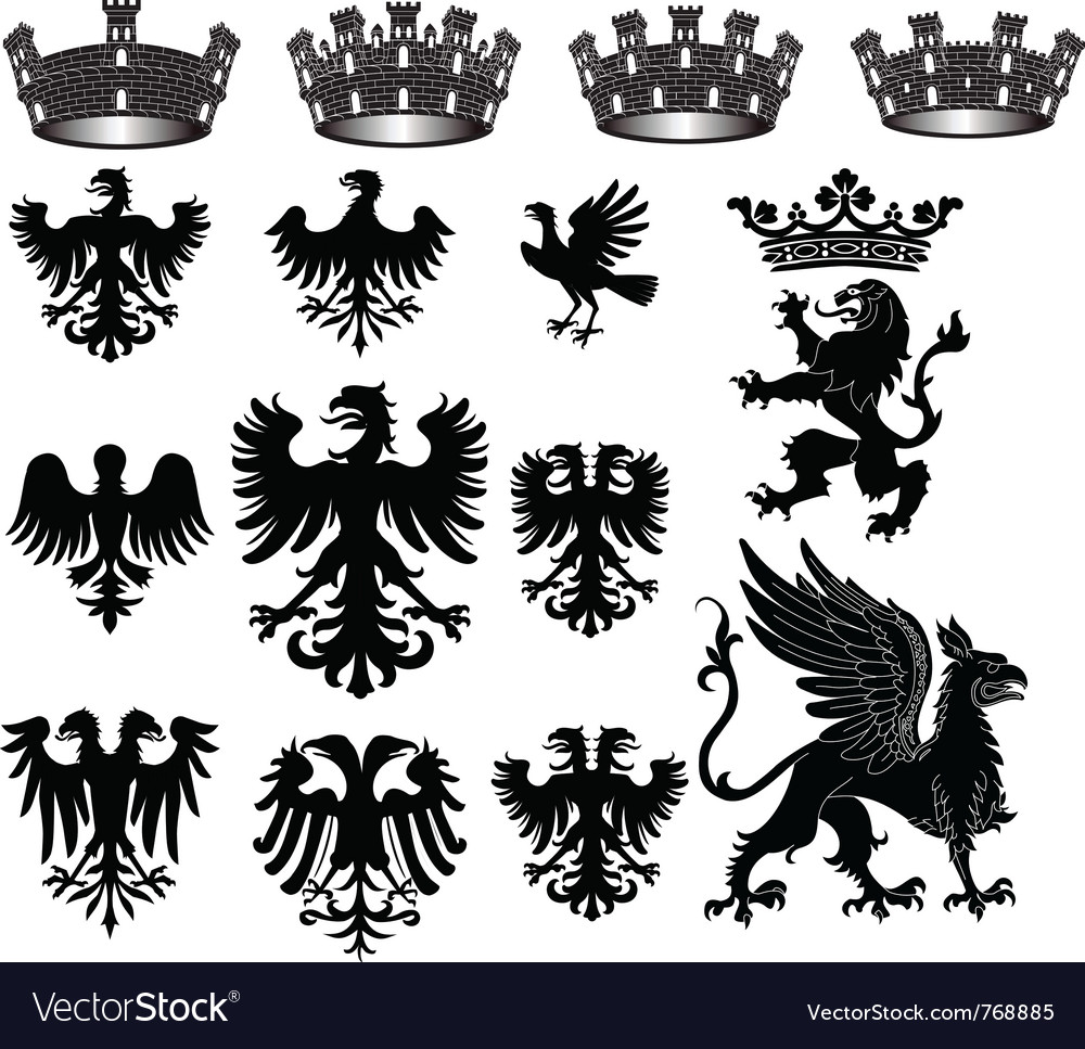 Heraldic set vector | Price: 1 Credit (USD $1)