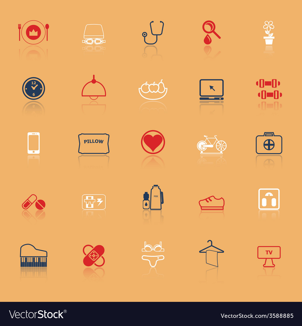 Quality life line icons with reflect vector | Price: 1 Credit (USD $1)
