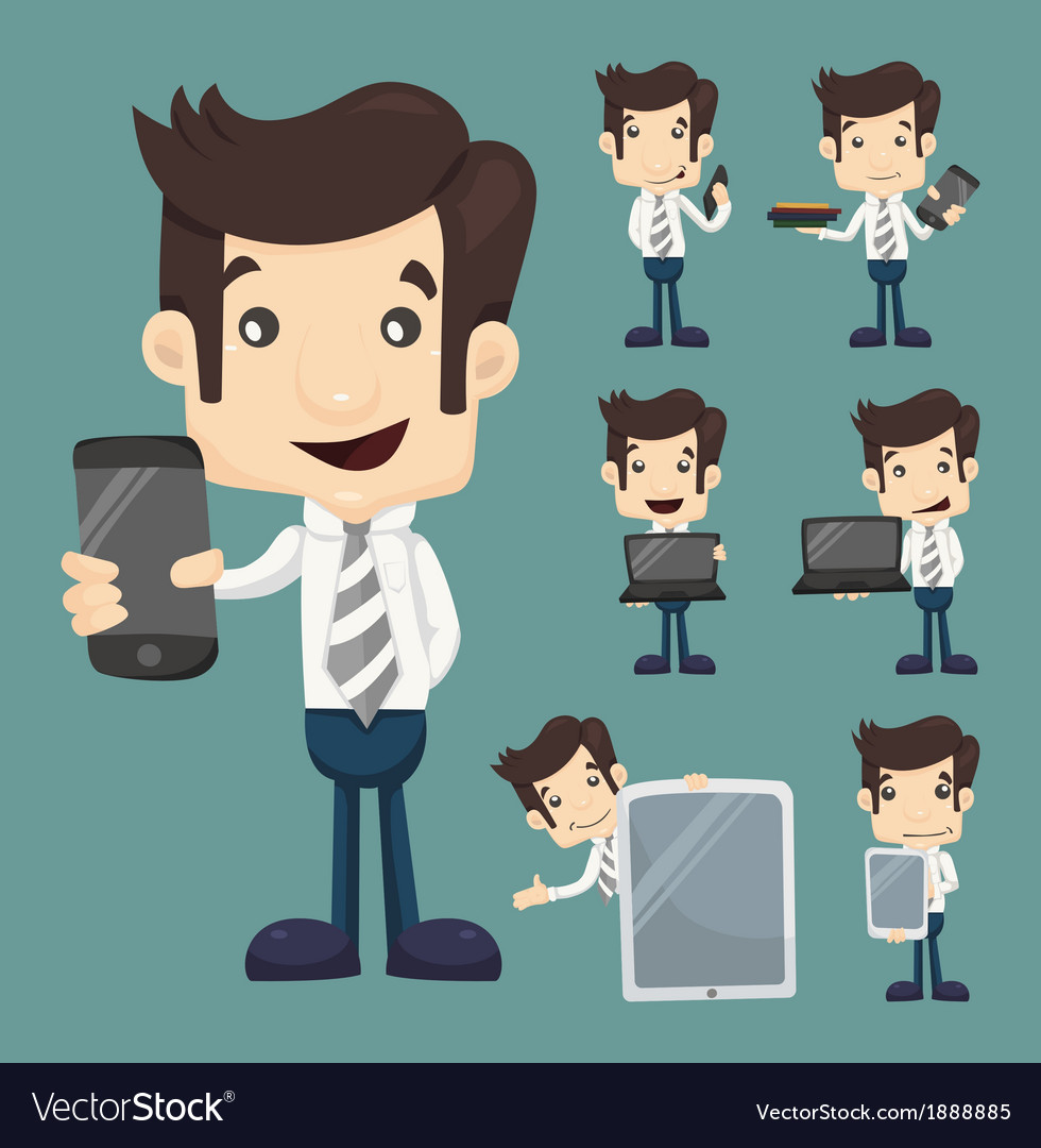 Set of businessman show tablet and smart phone cha vector | Price: 1 Credit (USD $1)