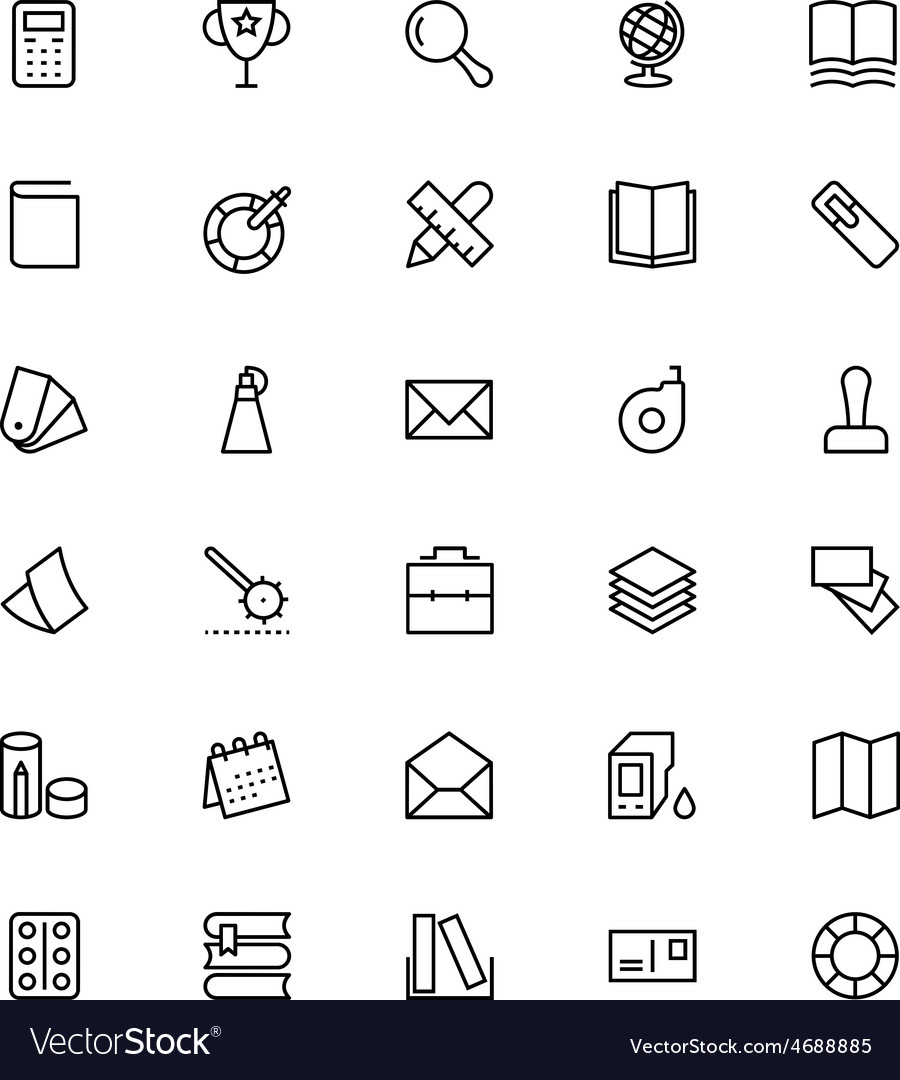 Stationery line icons 3 vector