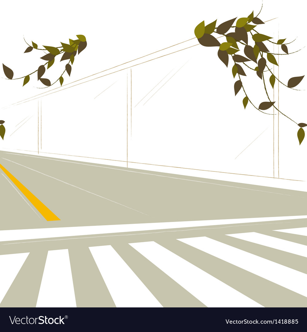 Street crossing scene vector | Price: 1 Credit (USD $1)