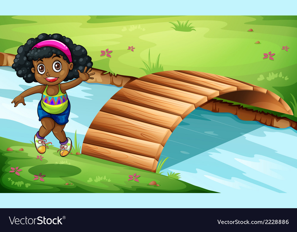 A young black girl near the wooden bridge vector | Price: 1 Credit (USD $1)