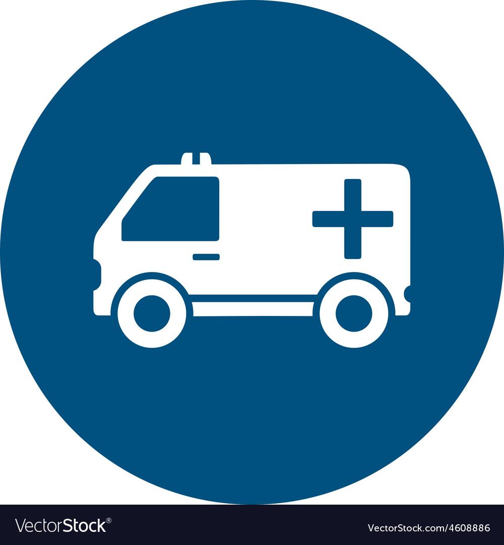 Ambulance car on blue round icon vector   Price: 1 Credit (USD $1)