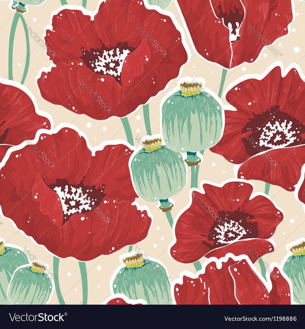 Beautiful painting spring floral seamless pattern vector | Price: 1 Credit (USD $1)