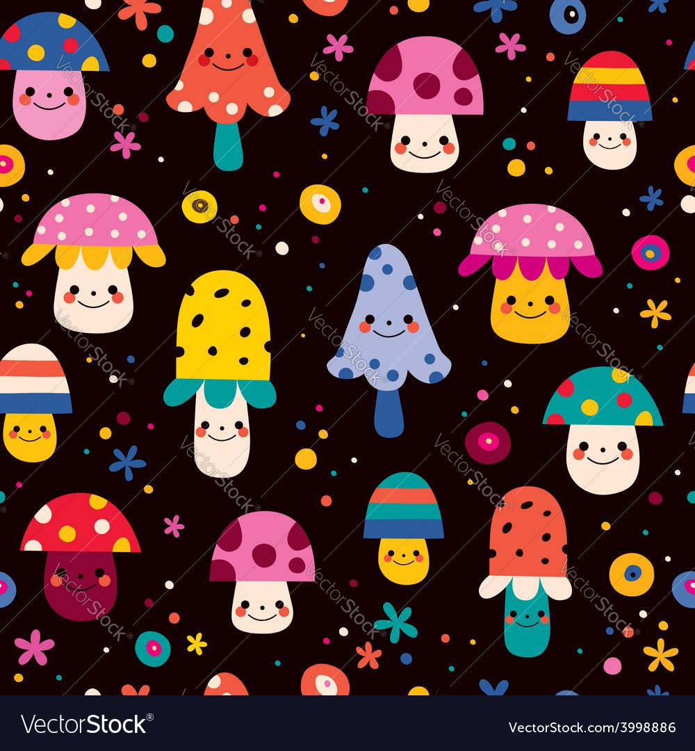 Cute mushrooms seamless pattern 2 vector | Price: 1 Credit (USD $1)