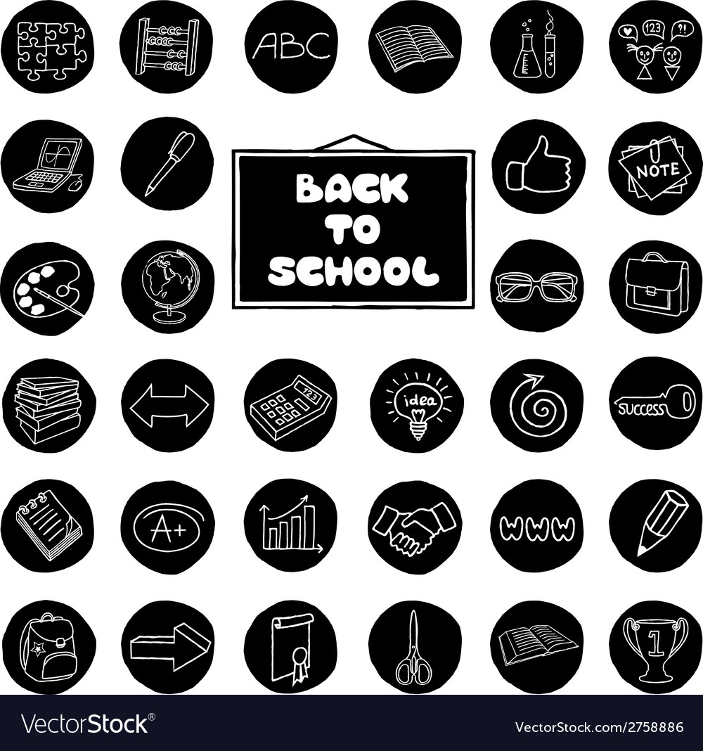Doodle school buttons vector | Price: 1 Credit (USD $1)