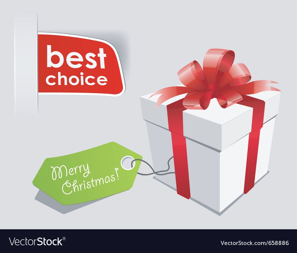 Gift box with red bow isolated vector | Price: 1 Credit (USD $1)