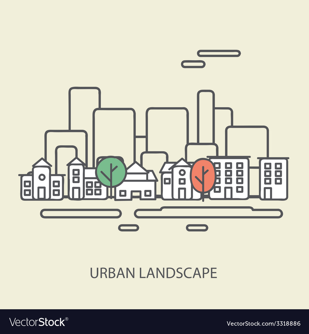 Linear background with urban landscape a stylish vector | Price: 1 Credit (USD $1)