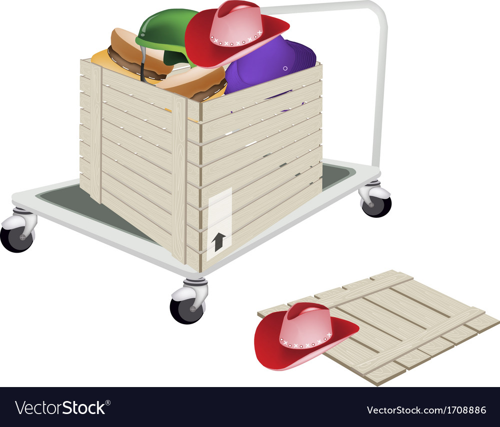 Pallet truck loading hats in shipping box vector | Price: 1 Credit (USD $1)