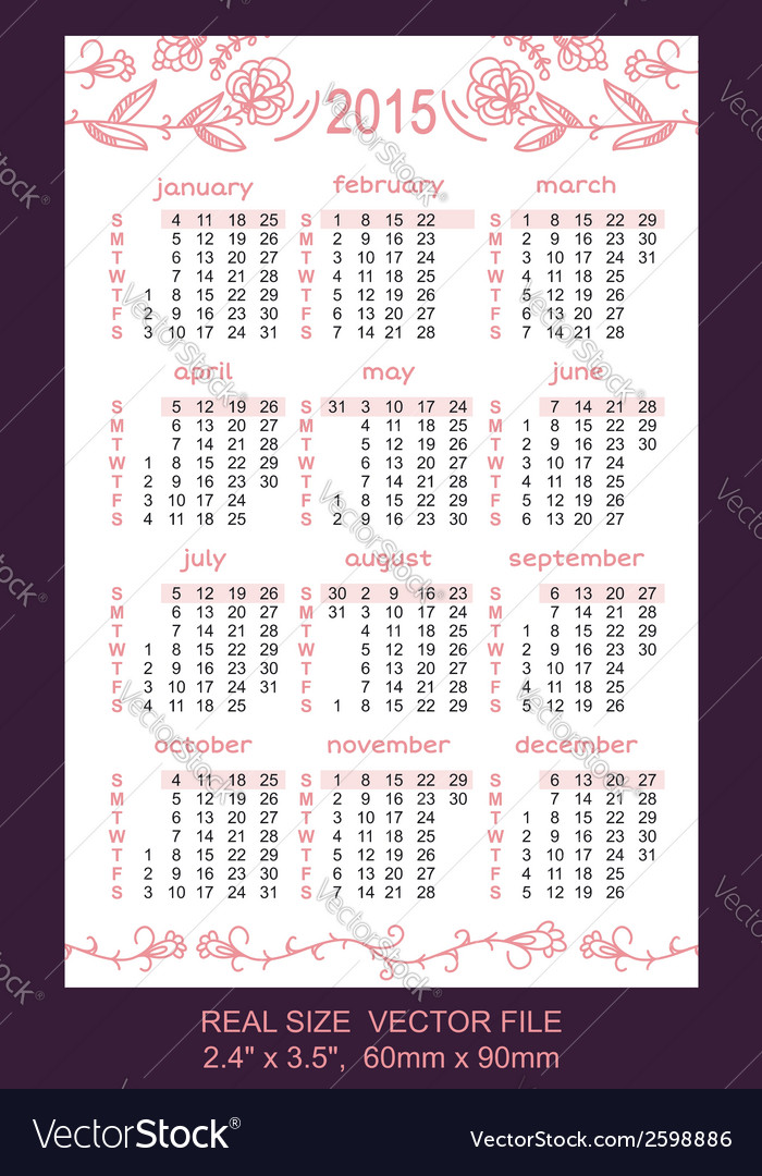 Pink pocket calendar 2015 vector | Price: 1 Credit (USD $1)