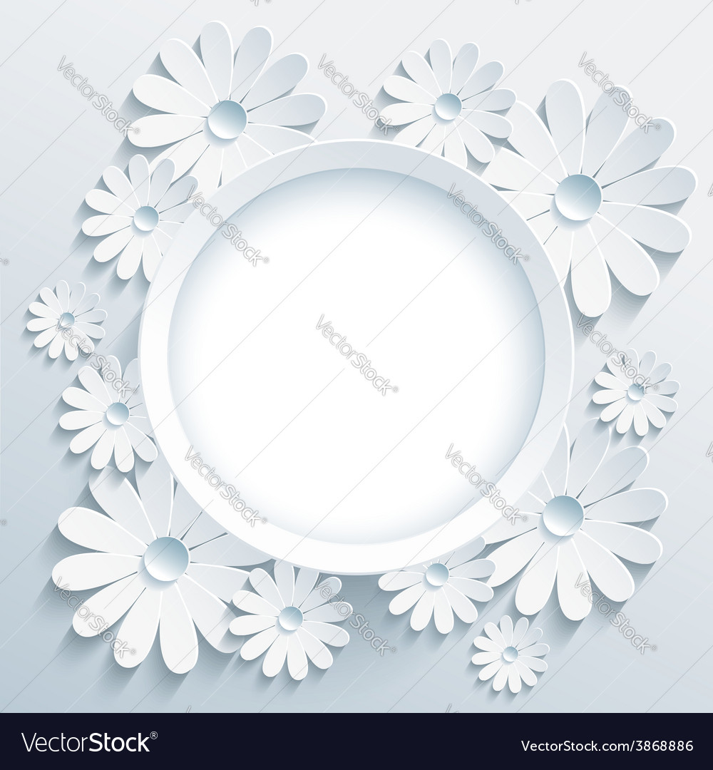 Round frame with 3d white chamomile greeting card vector | Price: 1 Credit (USD $1)
