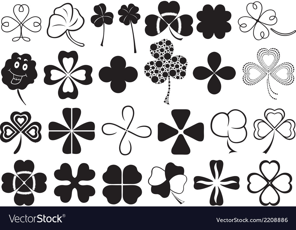 Set of different clovers set vector | Price: 1 Credit (USD $1)