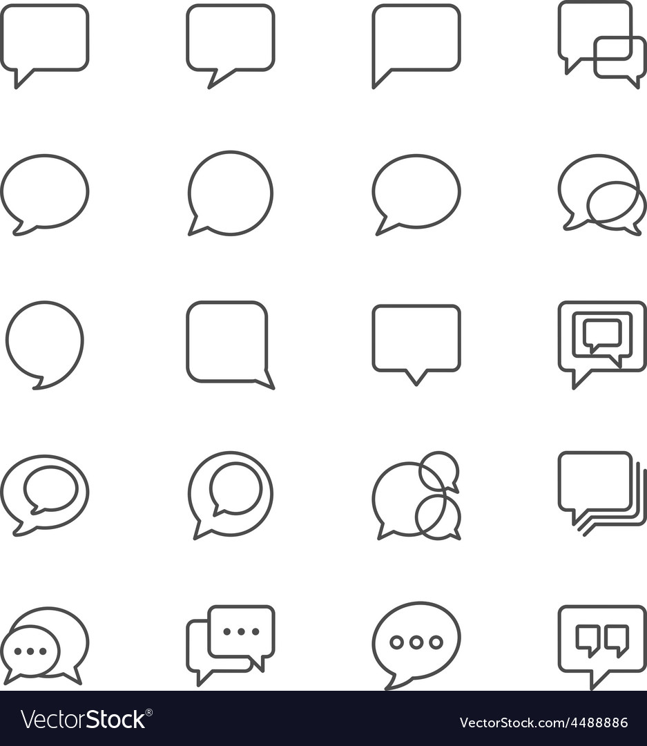 Speech bubble thin icons vector | Price: 1 Credit (USD $1)
