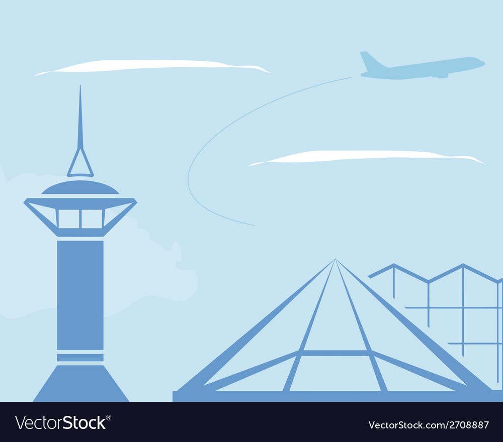 Airport control tower and terminal building vector | Price: 1 Credit (USD $1)
