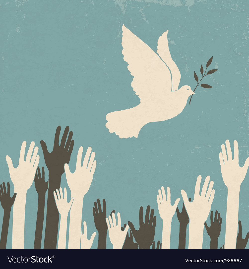 Group of hands and dove of peace vector | Price: 1 Credit (USD $1)