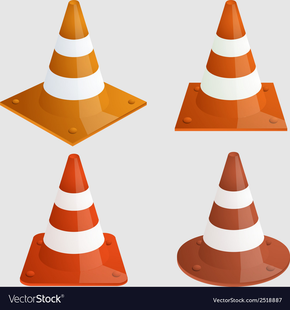 Modern traffic cones icons set vector | Price: 1 Credit (USD $1)