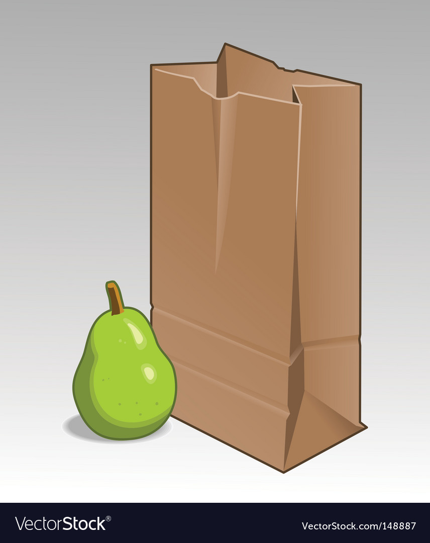 Pear and brown bag vector | Price: 1 Credit (USD $1)