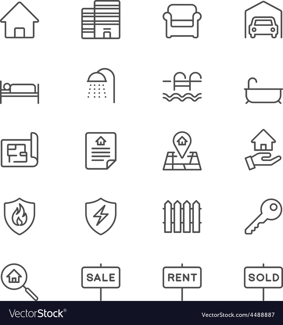 Real estate thin icons vector | Price: 1 Credit (USD $1)