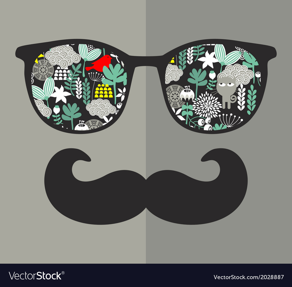 Retro glasses with reflection for hipster vector | Price: 1 Credit (USD $1)
