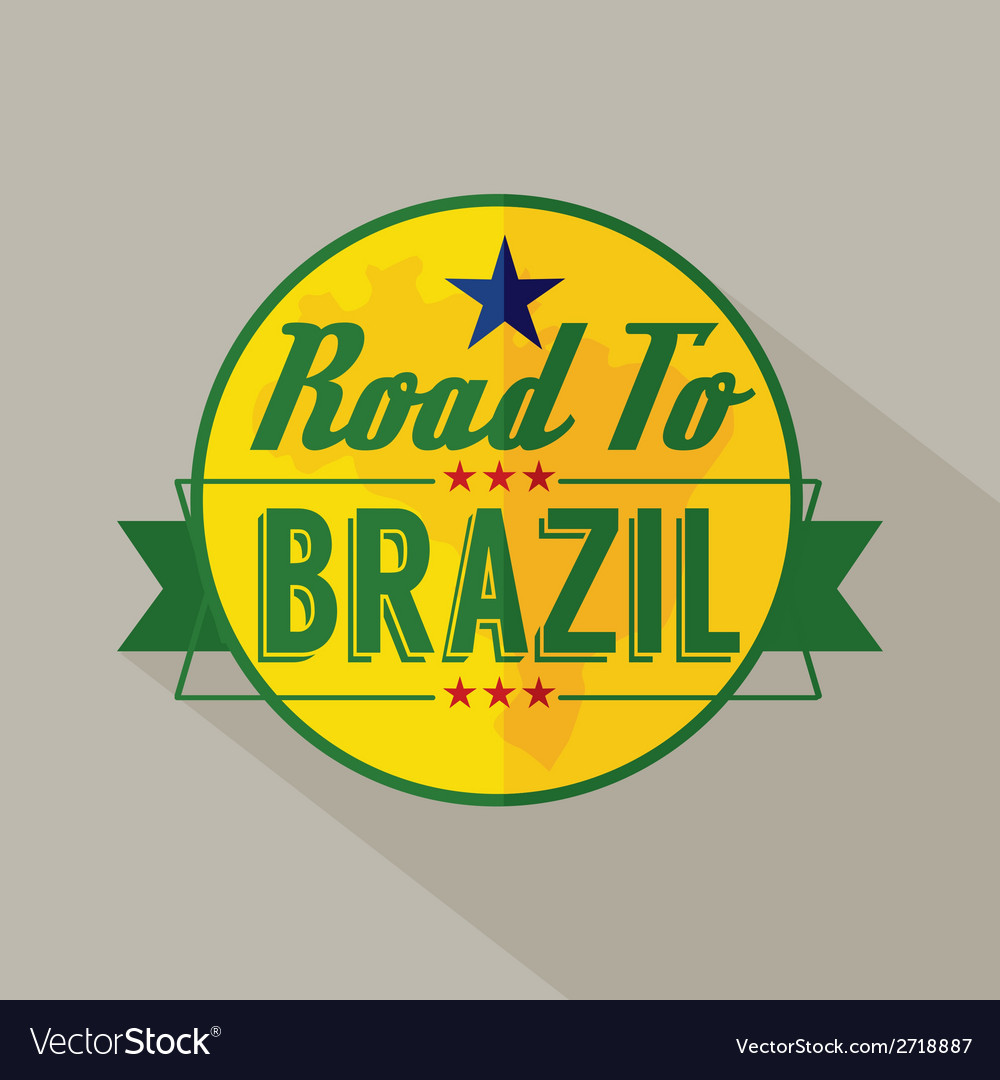 Road to brazil label vector | Price: 1 Credit (USD $1)