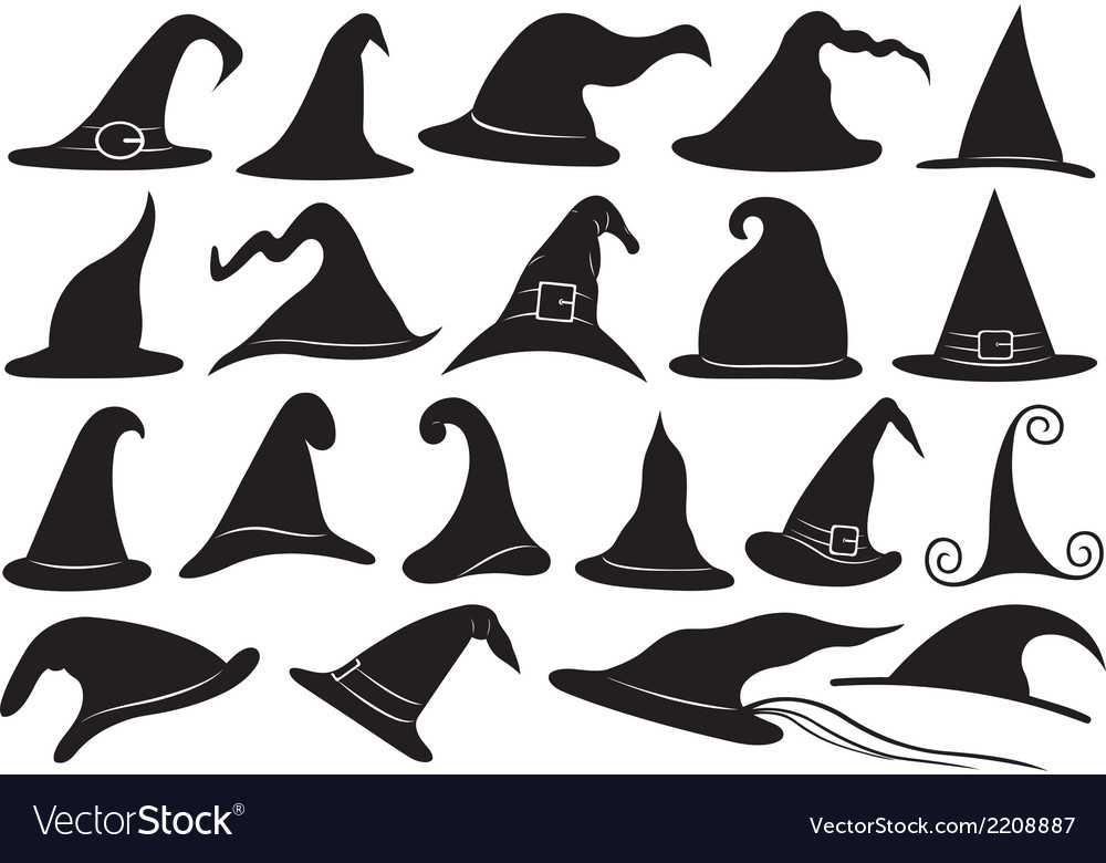 Set of different witch hats vector   Price: 1 Credit (USD $1)