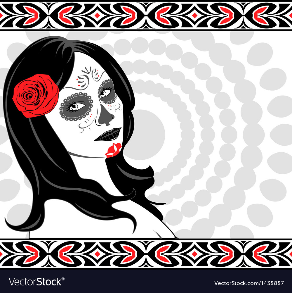 Sugar skull lady vector | Price: 1 Credit (USD $1)