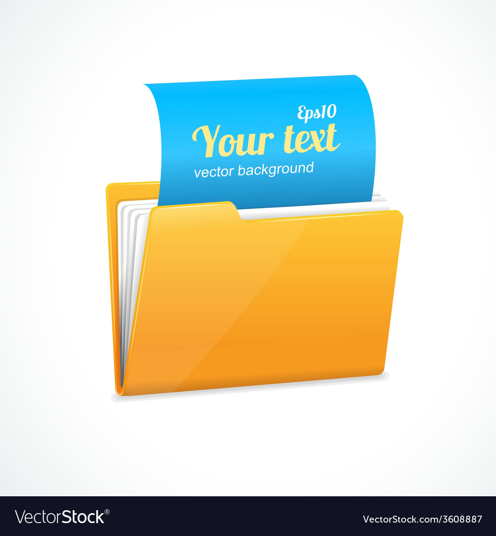Yellow file folder icon isolated on white vector | Price: 1 Credit (USD $1)