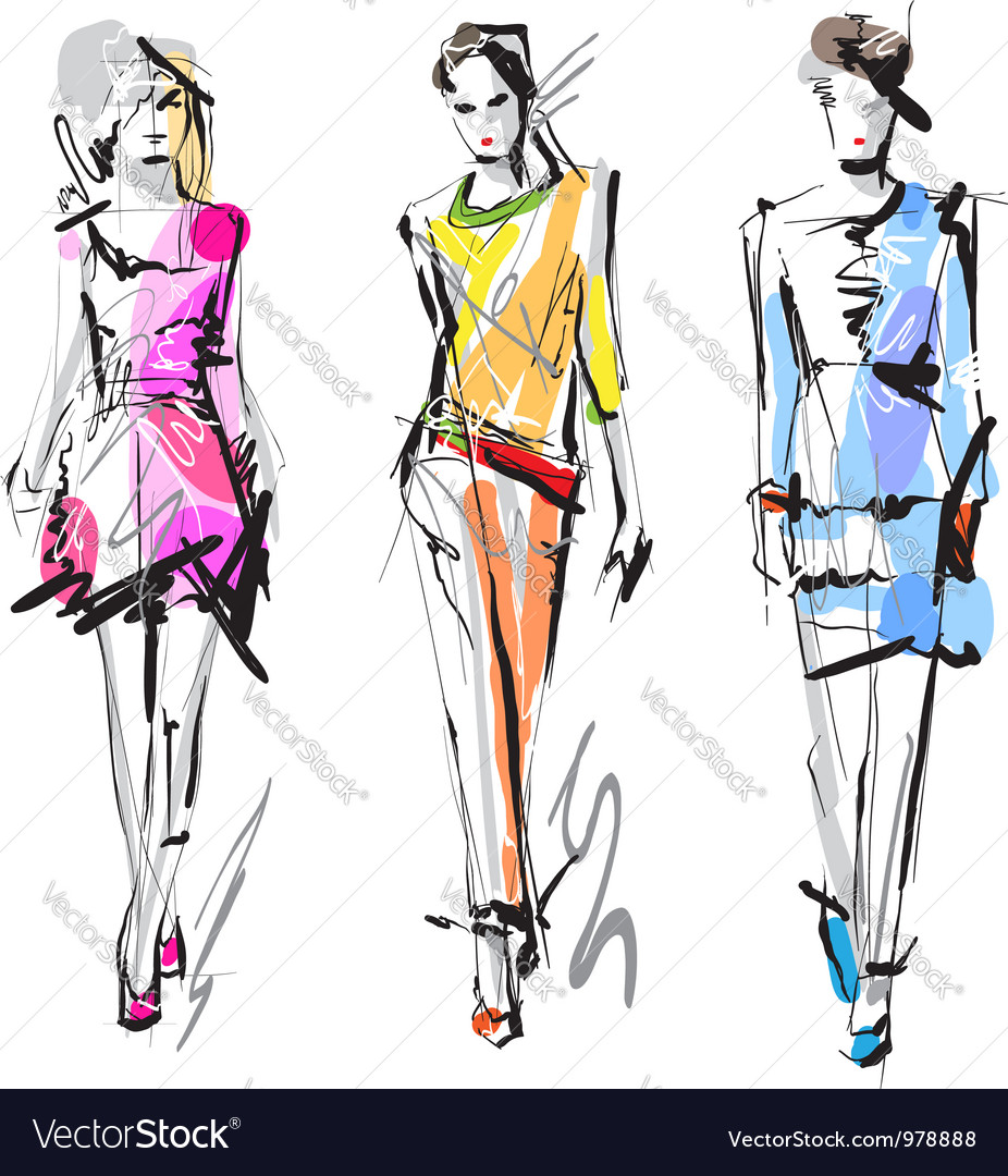 Artistic fashion sketches vector | Price: 1 Credit (USD $1)