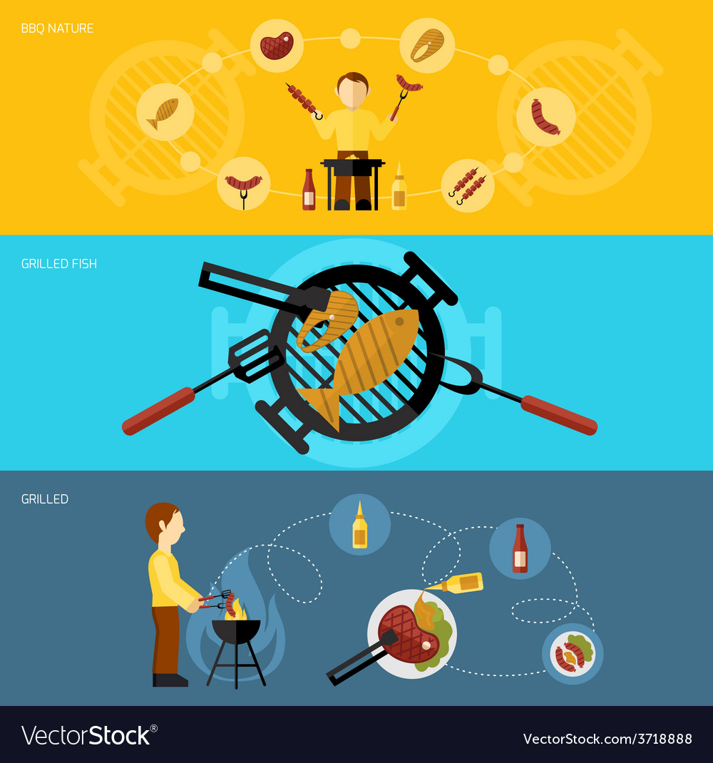 Bbq grill banner set vector | Price: 1 Credit (USD $1)