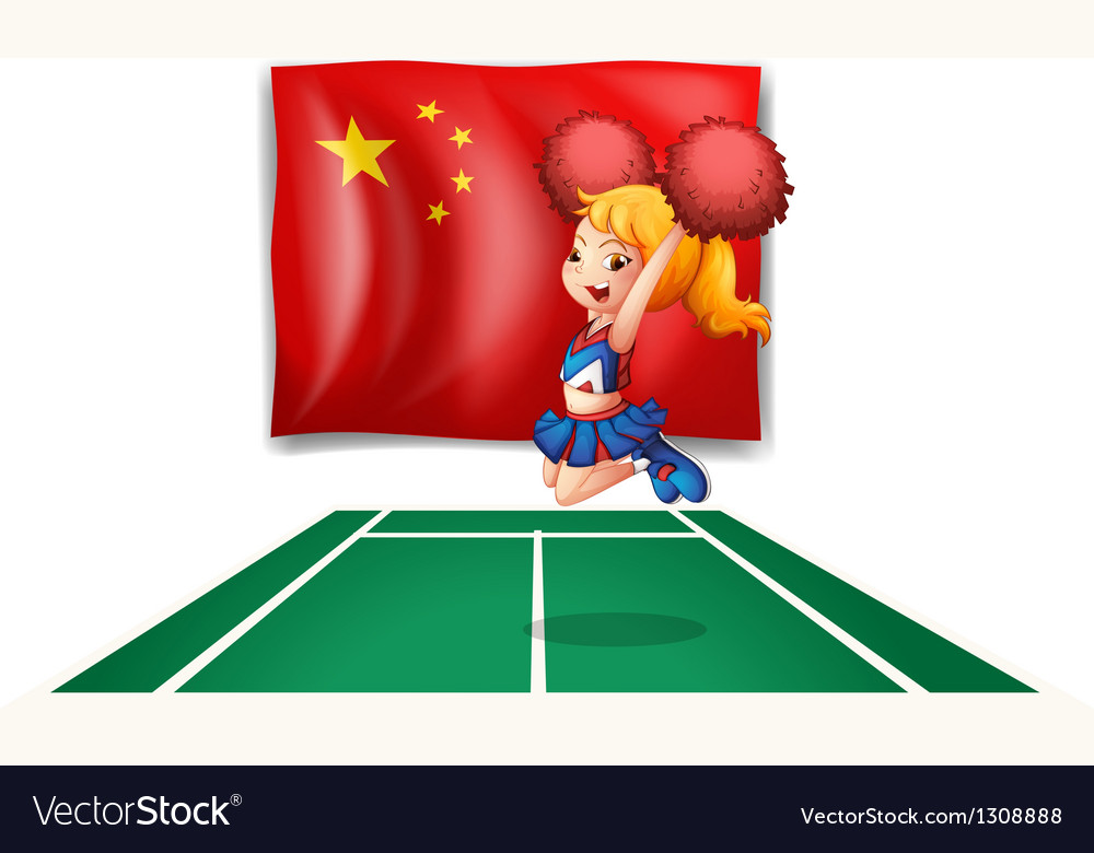 The flag of china and the young cheerdancer vector   Price: 1 Credit (USD $1)