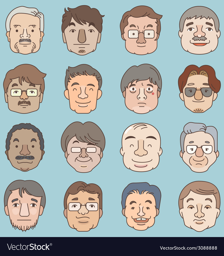 Men faces set asia face collection vector | Price: 1 Credit (USD $1)