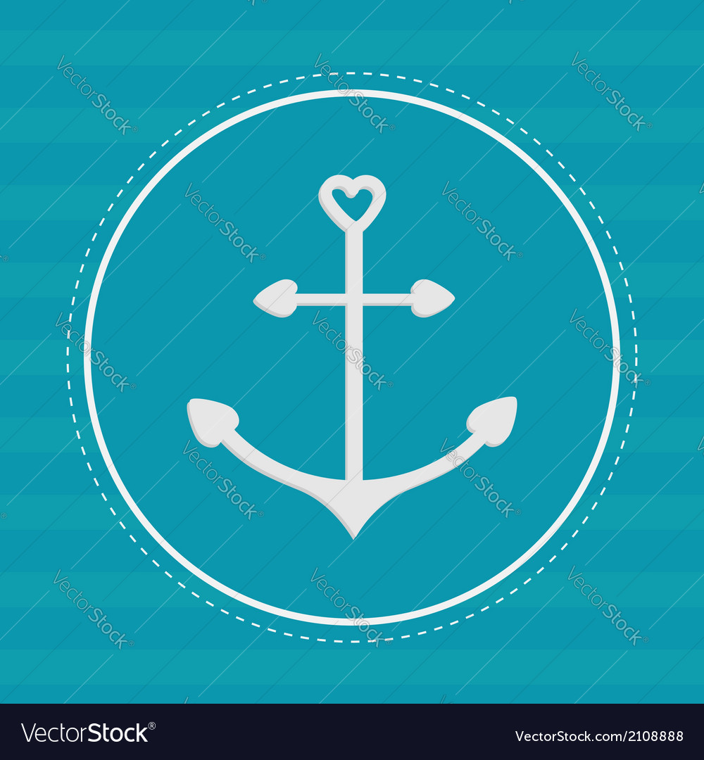 Round label with anchor in shapes of heart dash vector | Price: 1 Credit (USD $1)