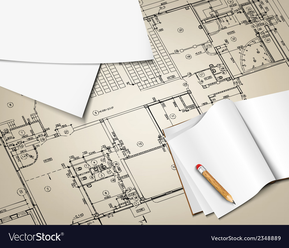 Architectural background drawing technical letters vector | Price: 1 Credit (USD $1)
