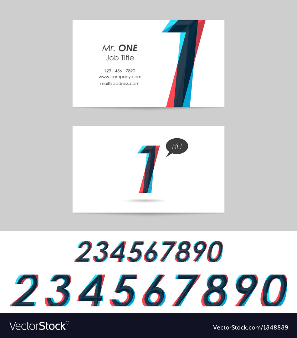 Business card template - numbers vector | Price: 1 Credit (USD $1)